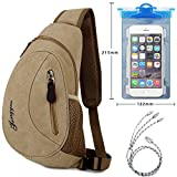 EEkiimy 3 in 1 Travel Kit! Crossbody Sport Sling Bag+3 in 1 Charging Cord+Waterproof Phone Pouch for iPhone X,iPhone 8,8 Plus,Samsung Galaxy Note 8,Note9,S8,S9,Oneplus 5T,Sony LG,HTC (Khaki)