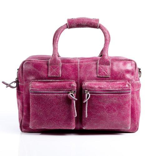 BACCINI bolso de mano LARA: cartera con asas cortas para mujer GRANDE - estilo tote-bag de cuero rojo - diseño retro-vintage (37 x 24 x 19cm)