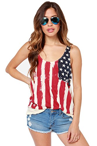 (REINDEAR Fashion Women Patriotic American Flag Print Lace Camisole Tank Top US Seller (XL, Style #2))