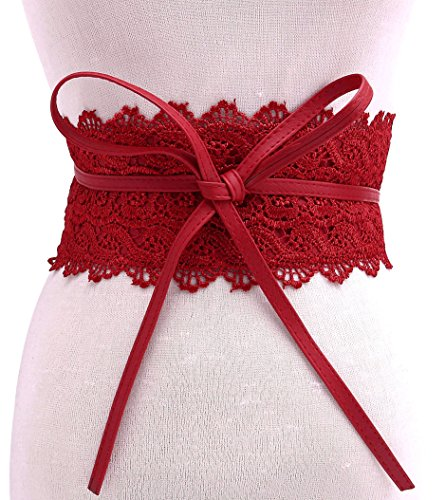 Ayliss Bowknot Lace Leather Wrap Around Self Tie Obi Cinch Waist Band Boho Belt,Red - Tie Up Lace Leather