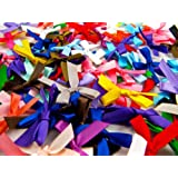 100 Satin Ribbon Bows, Assorted Colours, 7mm Wide, Double Sided Satin