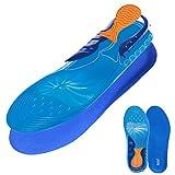BOCAN Gel Insoles for Sport Running Shock Absorption Velvet Fabric 1 Pair Blue (Men's Size 8-13)