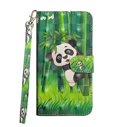 LG Zone 4 Case, LG Aristo 2/LG Tribute Dynasty/LG K8 2018/LG Fortune 2/LG Risio 3 Case, Love Sound [Wrist Strap] [Stand Feature] 3D Painted Design PU Leather Wallet Flip Case Cover, Panda Bamboo