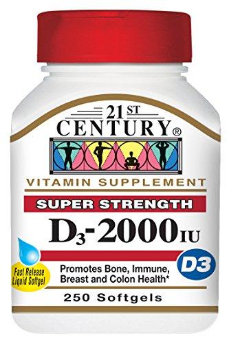 21st Century D3 2000 IU Softgels, 250 Count (21st Century Vitamins)