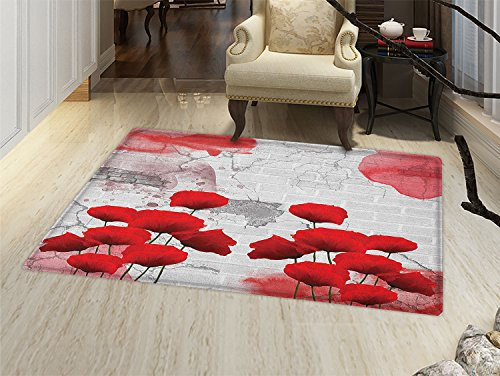 (smallbeefly Poppy Flower Door Mats for home Flourishing Rural Field Vibrant Blooms on Weathered Brick Wall Backdrop Bath Mat Bathroom Mat with Non Slip Red Grey Coconut)