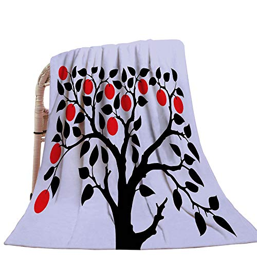 Apple Throw Blanket Black Tree with Ripe Red Nutritious Fruit Flourishing Nature Garden Forest Art Baby Blanket Lilac Black Red ()