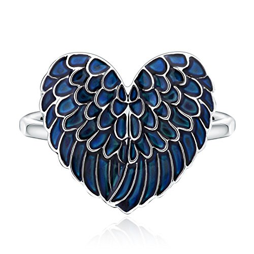 Angel Wing Mood Ring Heart Color Changing White Gold Plated Thermochromic Liquid Magic Ring Gift (6.5)