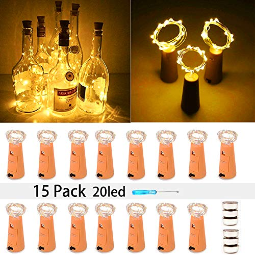 MEI YI Wine Bottle Lights with Cork 15 Pack 20 LED Fairy Lights String Battery Operated Mini Copper Wire Light is 6.5 Feet Used for DIY Party,Christmas,Wedding Center or Table Decorations(Warm White)