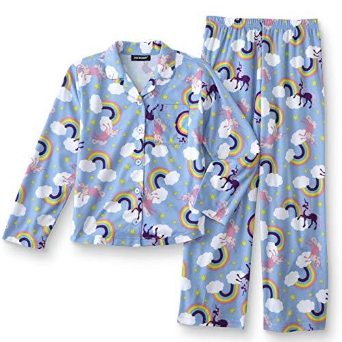 Rainbows & Unicorns Girls Flannel Pajama Shirt & Pants (X-Large (14/16)) ()