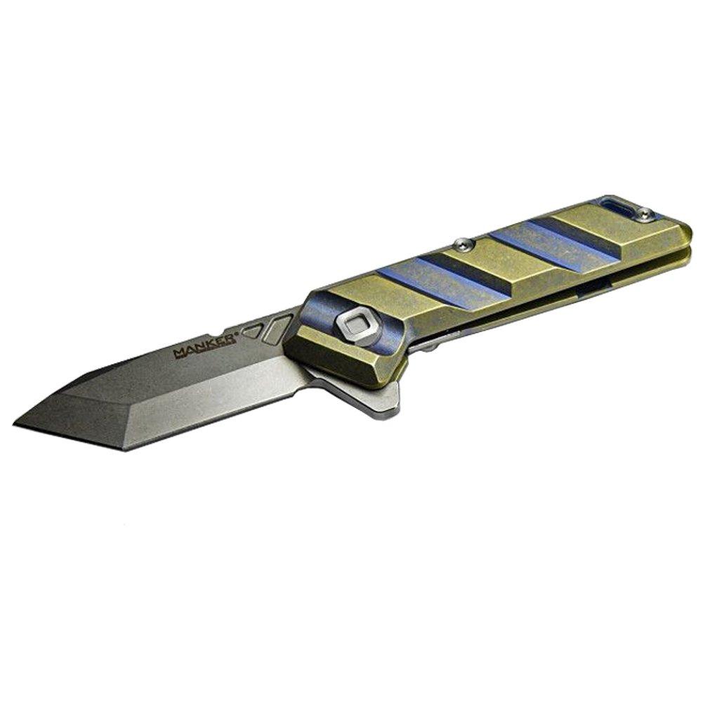 Manker サーベル折りたたみナイフ-ウォッシュチタンハンドル & ステンレス M390 鋼ブレード B076ZGWJ7R  ブルーアルマイト