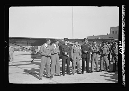 1939 Photo Wings over Palestine-Certificates of Flying School, April 21, 1939. Young pilots who received their flying licenses with instructors [Lydda Air Port Location: Israel, - Locations Airport Uk