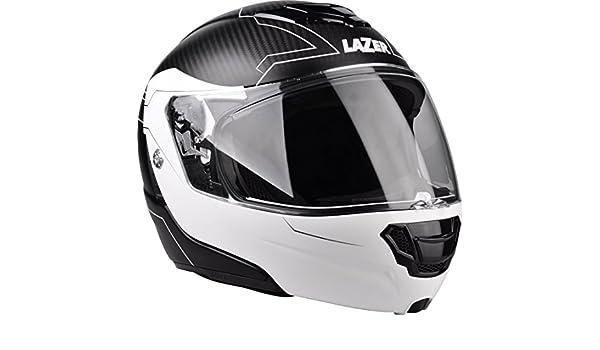 Lazer MLE0410201G1S Monaco Evo Droid Pc Casco Moto Modular, Negro Carbon/Matt-Blanco, Talla XS: Amazon.es: Coche y moto