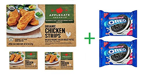 Applegate Organic Chicken Strips, 8 oz (Pack Of 3) + 2 Nabisco Oreo Double Stuf Chocolate Sandwich Cookies 15.35 oz (Organic Chicken Strips)