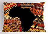 Lunarable African Pillow Sham, Abstract Artistic Style Africa Map on Ethnic Carpet Background Illustration, Decorative Standard Size Printed Pillowcase, 26 X 20 inches, Black and Orange