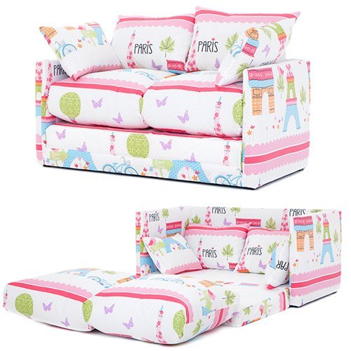 Ready Steady Bed Paris City Design Children S Fold Out Sofa Cotton Pink Co Uk Kitchen Home