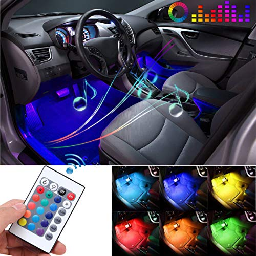 Car LED Strip Light, Auto Parts Club 4pcs 36 LED DC 12V Multicolor Car Interior Lights LED Under Dash Lighting Waterproof Kit with Wireless Remote Control, Multi-Mode Change(DC 12V)