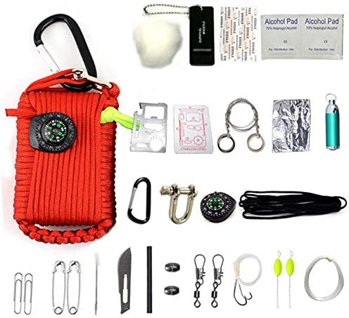 HW Kit De Supervivencia De Emergencia, 29 En 1 Granate Paracord Mini Kits De Primeros Auxilios Set De Arranque De Fuego De Silbato Cebos De Supervivencia Brújula,Red: Amazon.es: Deportes y aire libre