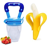 Motherly Baby Fresh Food Feeder Soft Silicone Nipple Toddler Fruit Feeding Pacifier (Blue/Banana, Small)