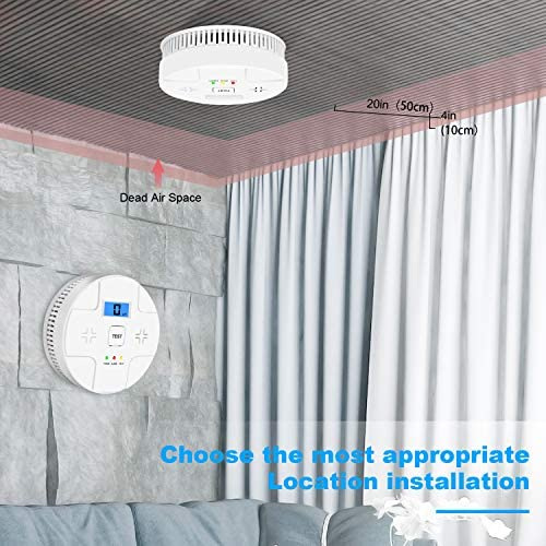2 Pack Combination Smoke and Carbon Monoxide Detector Battery Operated, Portable Smoke and Co Alarm for Home Bedroom Travel