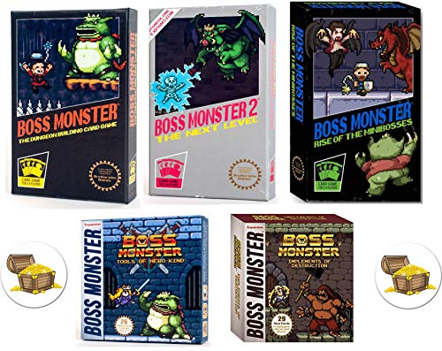 (Boss Monster Card Game Bundle with Boss Monster 1, 2, and 3, Implements of Destruction and Tools of Hero Kind Plus 2 Treasure Chest)