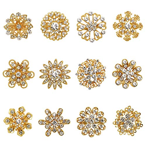 WeimanJewelry Gold/Silver Plated Lot 12pcs Crystal Rhinestone Flower Brooch Pins for Women DIY Wedding Bouquet ()
