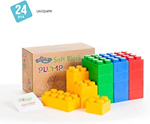 UNiPLAY Jumbo Multicolor Soft Building Blocks Plump Series 2 Different Sizes of Blocks for Ages 3 Months & Up Non-Toxic & BPA-Free Developmental, Educational, Creative Toy 24 Piece
