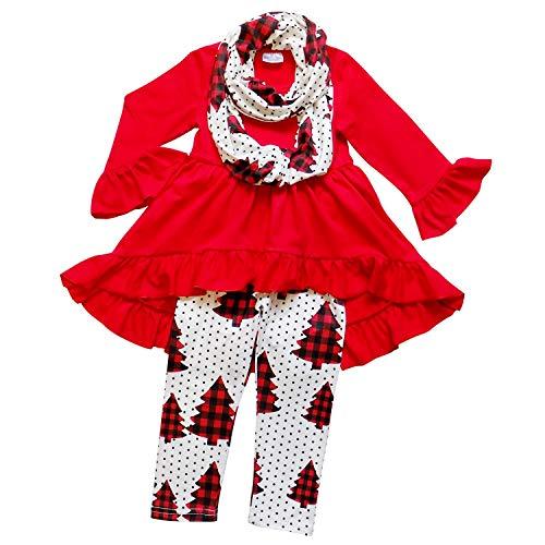 (So Sydney Toddler Girls 3 Pc Hi Lo Christmas Holiday Ruffle Tunic Outfit, Scarf (M (Size 4T), Buffalo Plaid Tree))
