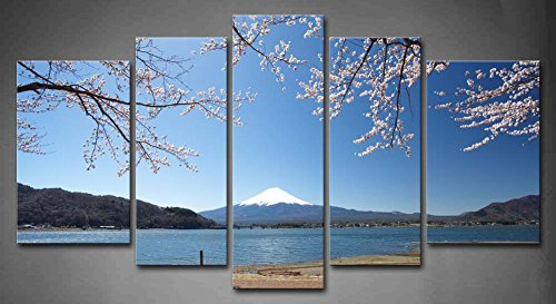 First Wall Art - 5 Panel Wall Art Mountain Fuji In Spring Cherry Blossom Sakura Lake Hill Painting Pictures Print On Canvas Landscape The Picture For Home Modern Decoration piece - Hills Desert Palm Springs