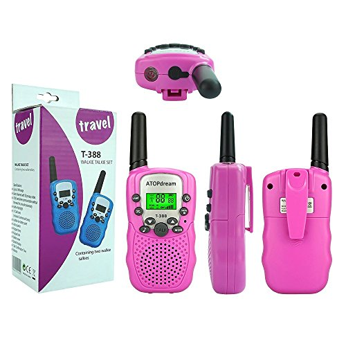 TOP Gift Toys for 3-12 Year Old Girls, Handheld Walkie Talkies for Kids 2 Mile Hunting Accessories 2018 Christmas for Kids Boys Girls 3-12 Stocking Fillers Pink TGDJ06