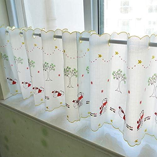 HXSM ホワイト 目隠し 綿 カフェカーテン おしゃれな キッチン カーテン 刺繍 ハーフカーテン 出窓 ショートカーテン 小窓用 飾り