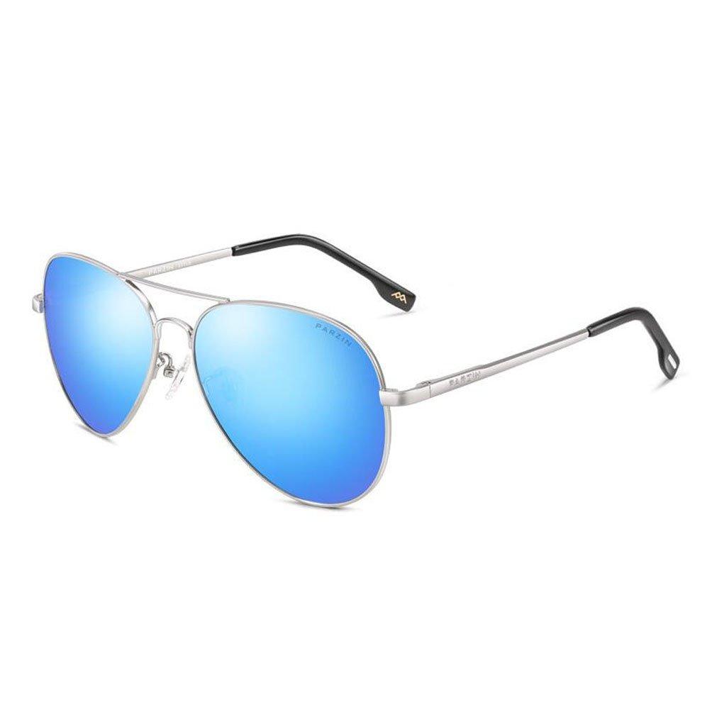 362f113c5 PARZIN Hombre Gafas de Sol Aviador polarizado de conducción con Súper Ligero  Al-MG Marco De Metal - UV 400 Protección, Blue: Amazon.es: Hogar
