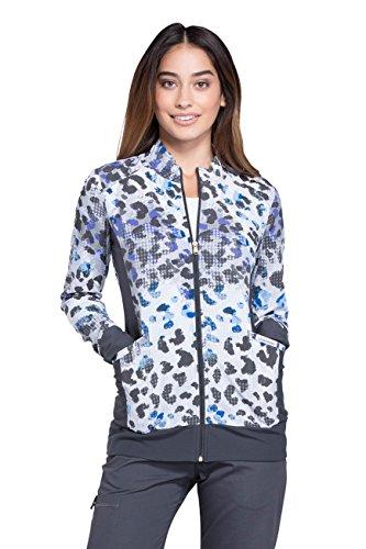 Cherokee Fashion Prints Women's Zip Front Warm-Up Animal Print Scrub Jacket XXXX-Large - Zip Animal Jacket Print