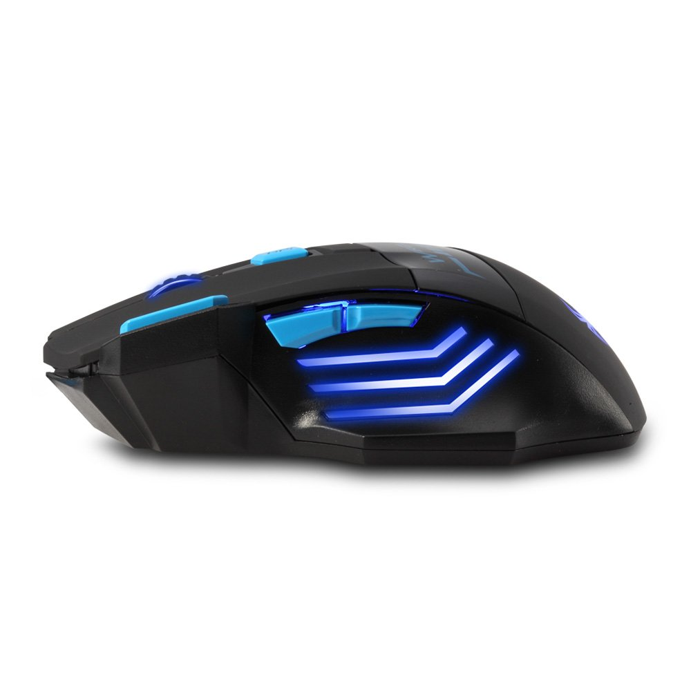 [New Version] Zelotes F14 Professional Blue LED 2400 DPI 9 Buttons USB 2.4G Optical Wireless Gaming Mouse Mice for gamer(Black) by Zelotes (Image #7)