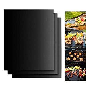 Dailyart Set di 3 tappetini antiaderenti per barbecue a carbonella, a gas o elettrici, riutilizzabili, durevoli… 1 spesavip