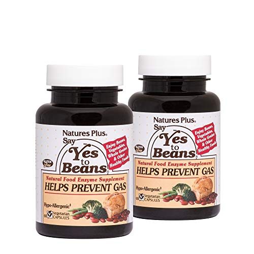 Natures Plus Say Yes to Beans Enzyme Complex (2 Pack) - 60 Vegetarian Capsules - Natural Food Enzyme Supplement for Gas Relief, Digestive Aid - Gluten Free - 180 Total Servings