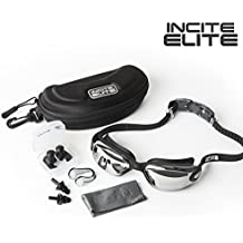 Incite Elite Swimming Goggles Swim Goggles Antifog with Protective Case, Nose Clip, Ear Plugs - Pro Performance Adult Swim Goggle with UV Protection for Triathlon Men Women