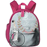 Haixia Child Boy's&Girl's Backpack with Pocket Bridal Shower Decorations Bride in Wedding Dress with Bicycle Flowers Full Charcoal Grey and Baby Blue