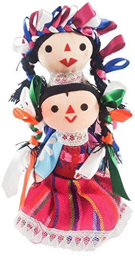 Girls Ragdoll Costumes (Mexican Maria Rag Doll 2 Pack Small Toys Handcraft Traditional Costume 7'' Assorted Colors & Models Bundle)