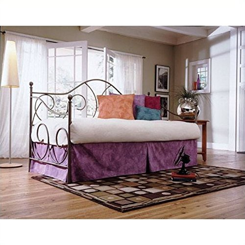 Caroline Complete Metal Daybed with Link Spring and Trundle Bed Pop-Up Frame, Flint Finish, Twin by Adjustables by Leggett & Platt