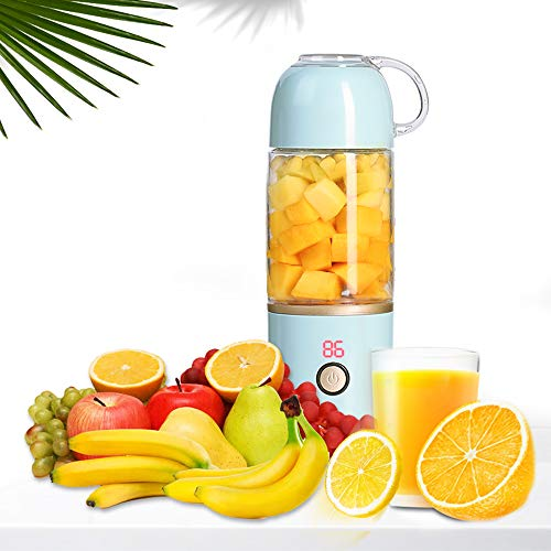 MCHATTE Portable Blender, Personal Juicer Cup, Fruit Mixing Machine – Six Blades in 3D with USB Rechargeable for Juice shakes and Smoothies, for Travel, gifts, Car, office. FDA, BPA Free Blue Color