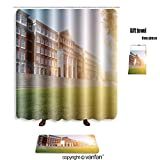 vanfan bath sets Polyester rugs shower curtain hall building in college 329767535 shower curtains sets bathroom 60 x 78 inches&23.6 x 15.7 inches(Free 1 towel 12 hooks)