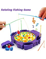 Pesca Pesci Giocattolo Pesca Pesciolini Gioco Pesci Musicale Tavolo Giochi Pesca con 6 Canna da Pesca e 21 Pesci Set da Pesca per Bambini Ragazza Ragazzo 3 4 5 Anni
