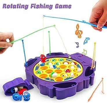 TONZE Juego de Pesca de Mesa con Música Juegos Pescar Peces Rotativos Pez de Coloridos Juguete Eléctricos Educativo Ideas de Regalos para Niños Niñas 3 4 5 Años: Amazon.es: Juguetes y juegos