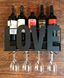 LivingEasy Wall Mounted Metal Wine Rack Love with Cork Storage and 4 Long Stem Glass Holder | Black | Home and Kitchen Decor