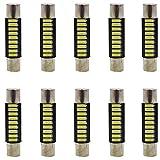 """AMAZENAR 10-Pack 100 Lumens Xenon White 28MM(1.1"""") - 31MM(1.25"""") 12V LED Festoon Light 4014 9-SMD Sun Visor Vanity Mirror LED Bulbs Vehicle 6615F 6614F 3021 3022 3175 T-2 SF6/6"""