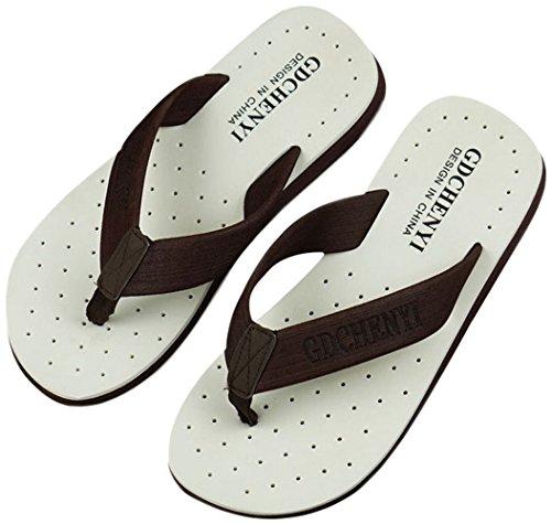 bettyhome Men Non-Slip Comfortable Thongs Casual Flat Sandals Beach Flip Flops Flat Slippers White thDsjNbS