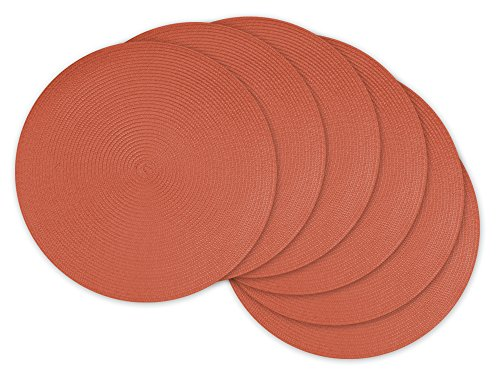 DII Round Braided/Woven, Indoor/Outdoor Placemat/Charger, Set of 6, Guava - Guava Set