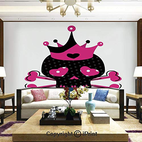 Mural Wall Art Photo Decor Wall Mural for Living Room or Bedroom,Cute Royal Skull with Crown and Crossbones Day of The Dead Queen Heart Eyes,Home Decor - 66x96 inches -