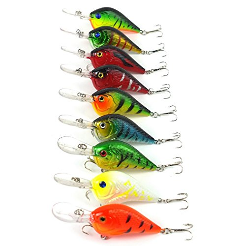 Aorace 9pcs/lot Crankbait Fishing lures 6# Hooks Crank Hard Bait Artificial Fish Lure Fishing Tackle Wobbler 9.5cm 11.2g