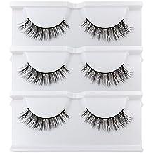 BEPHOLAN False Lashes 3 Pairs Reusable Handmade Fake Eyelashes 3D Mink Eyelashes Soft Fake Eyelashes Natural Look for Makeup(xmz027)